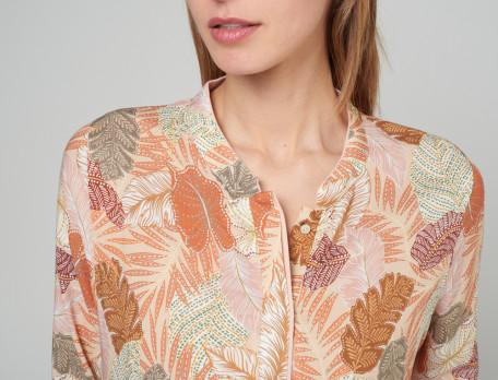 Damenpyjama Pflanzenmotiv hellrosa Jersey Tropicana
