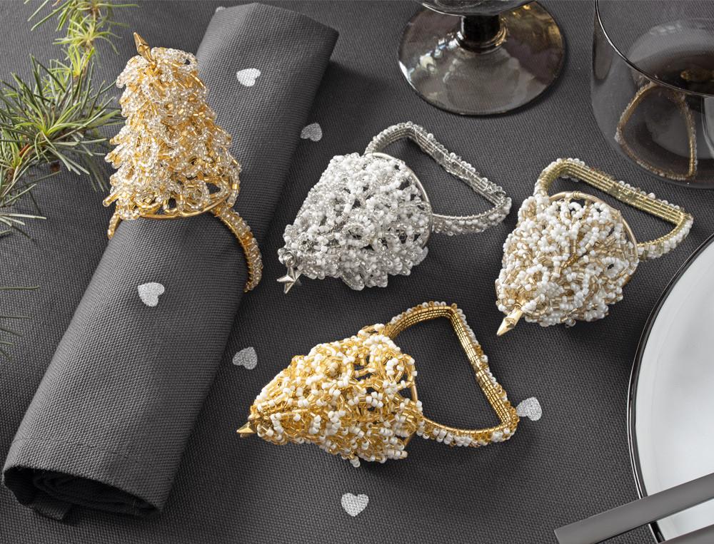 4 ronds de serviette perles et métal Mise en lumière
