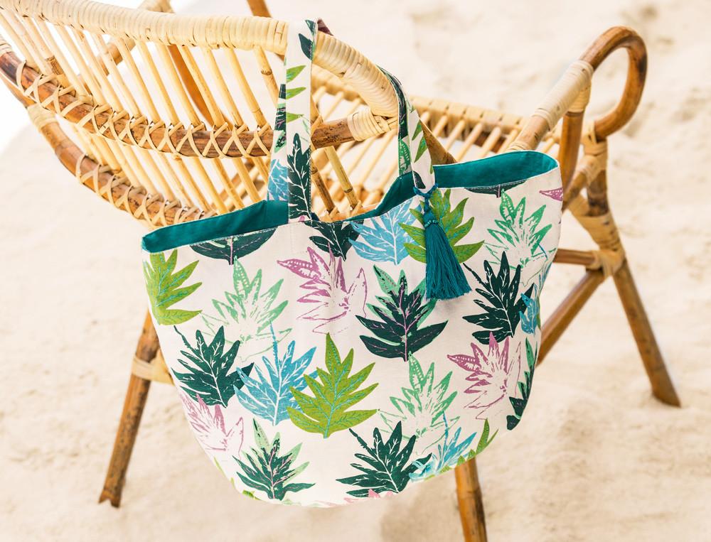 Sac de plage coton imprimé À Tahiti