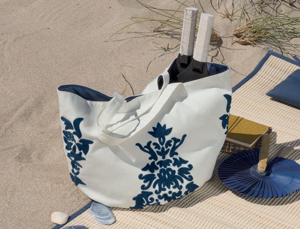 Sac de plage blanc Les galets de Collioure.