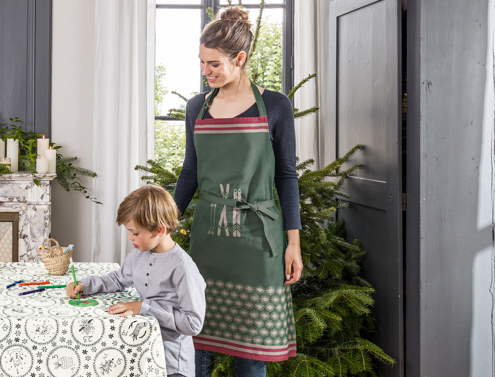 Jacquard-Schürze Grün Weihnachtsbrunch
