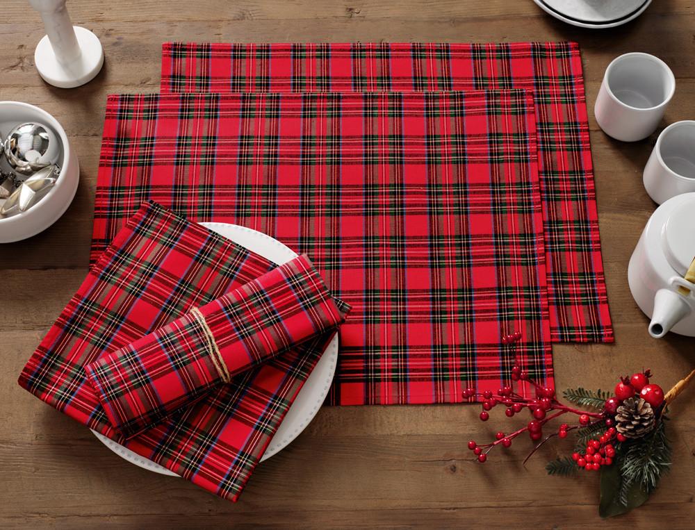 2 sets de table et 2 serviettes de table écossais tissé-teint rouge Forêt Noire