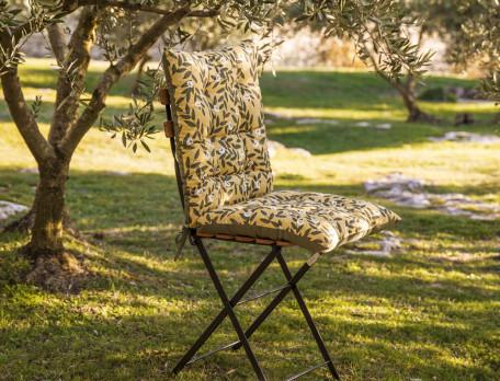 Sitzauflage für Gartenmöbel bedruckt gelber Untergrund Sonnenanbeter