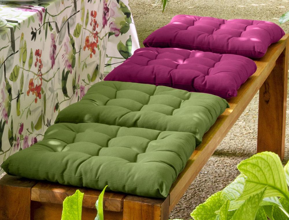 Sitzkissen einfarbig Farbtupfer Baumwolle Linvosges