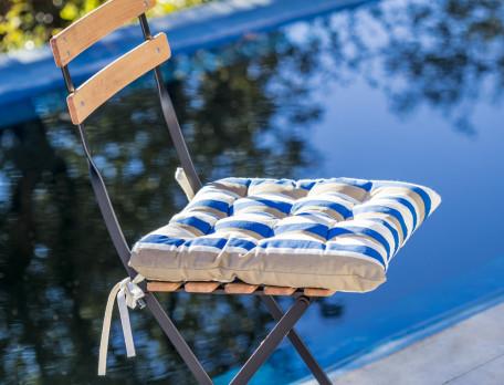 Sitzkissen Amorgos bedruckt Schnürbänder