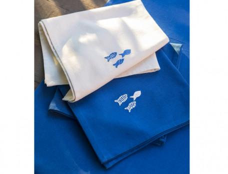 Stoffservietten Amorgos bestickt Fische