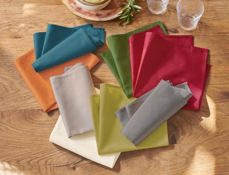 Stoffservietten einfarbig Farbtupfer Baumwolle Linvosges