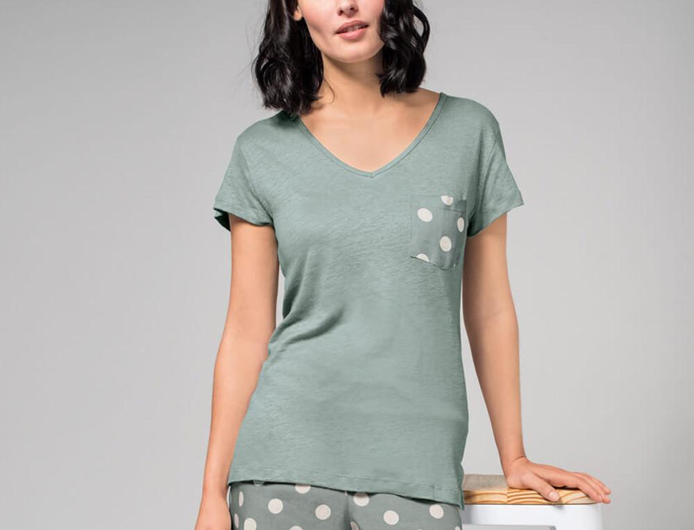 T-shirt jersey uni émeraude Des ronds dans l'eau