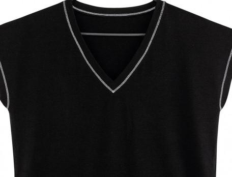 T-shirt jersey uni noir En contraste