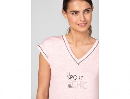 T-Shirt Fitness aus rosa meliertem Jersey