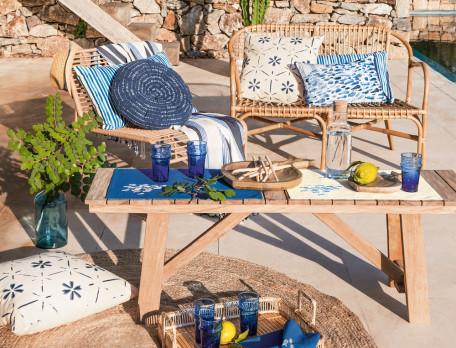 Tagesdecke Amorgos eingewebte Streifen Fransensaum
