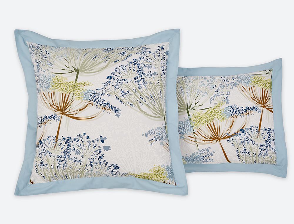 Taie d'oreiller percale imprimé fleuri et dos bleu uni Agapanthe