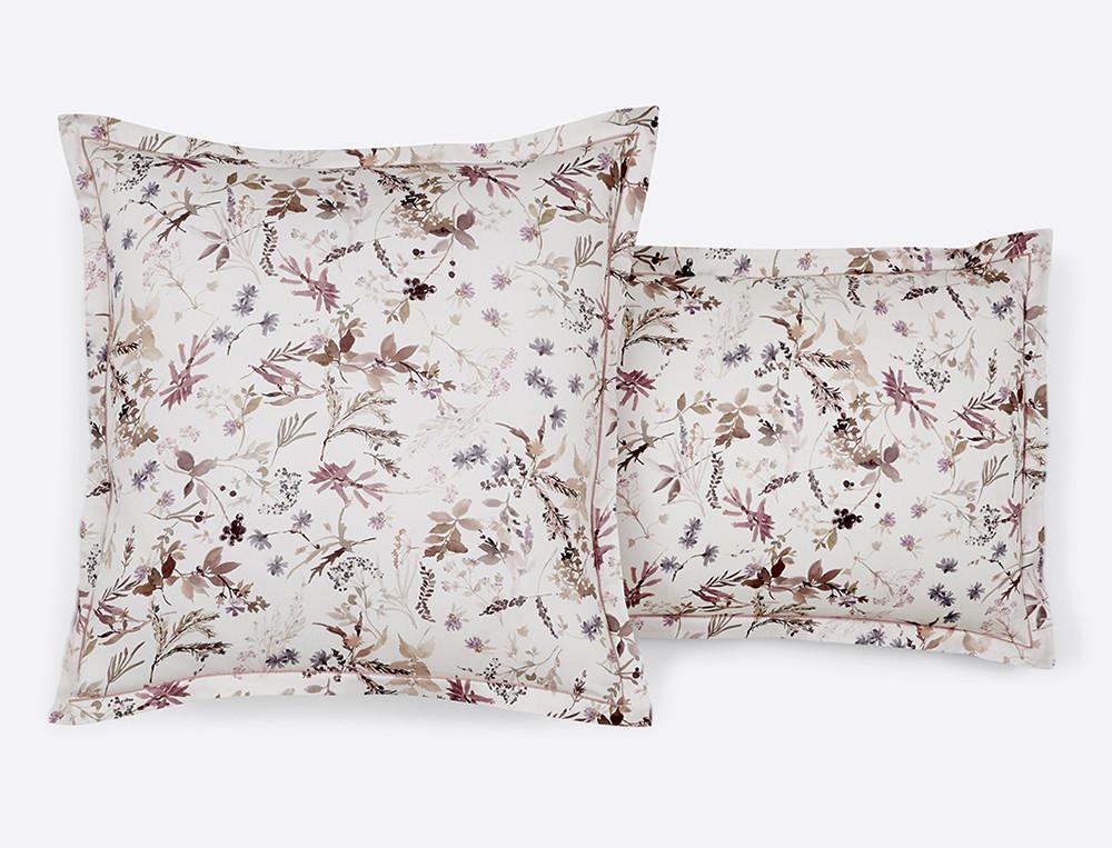 Taie d'oreiller satin imprimée fleurie Au jardin des plantes