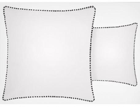 Taie d'oreiller percale imprimée dos uni blanc Au pied de la butte