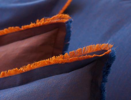 Taie d'oreiller percale bleue ou orangée Balade à Majorelle