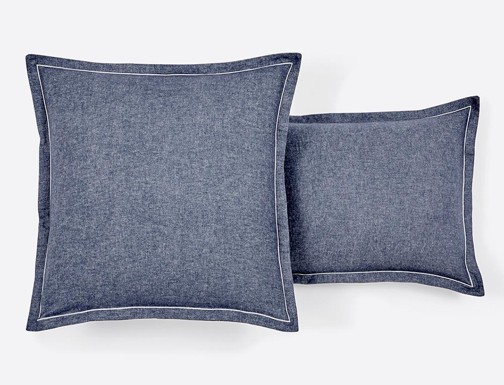 Taie d'oreiller flanelle écossais ou tissé-teint bleu Bergen