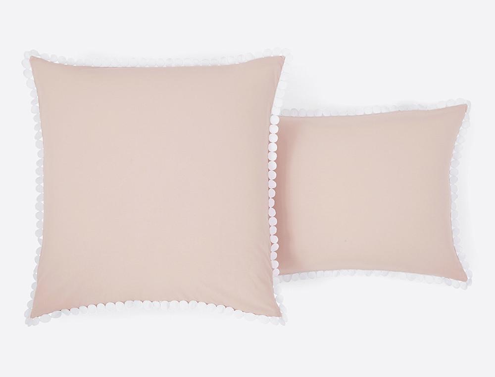Taie d'oreiller percale lavée blanche ou blush Bulles de douceurs
