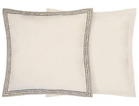 Taie d'oreiller carrée percale unie blanc naturel volant parement Constantin