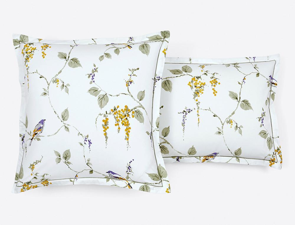 Taie d'oreiller percale réversible imprimée fleurie et petits motifss  Chant d'été