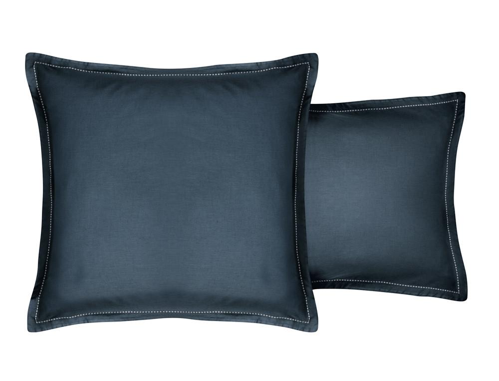 Taie d'oreiller unie bleue piqûre fantaisie Coton cachemire
