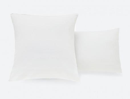 Taie d'oreiller percale blanche avec parement satin couleur Duo prestige