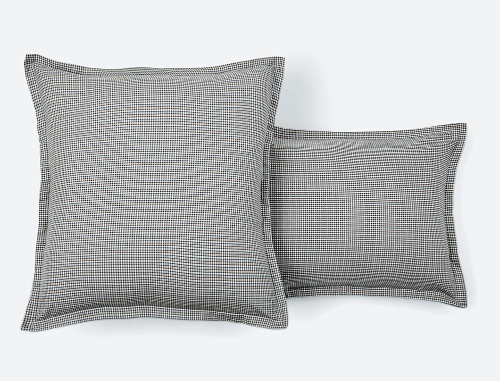 Taie d'oreiller percale écossais et chambray En gris majeur