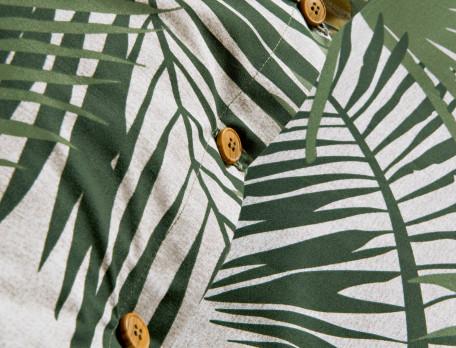 Taie d'oreiller percale une face imprimée de palmes et dos unis En safari