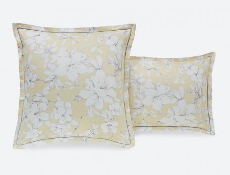 Taie d'oreiller satin imprimé jaune et gris Fleurs de vanille