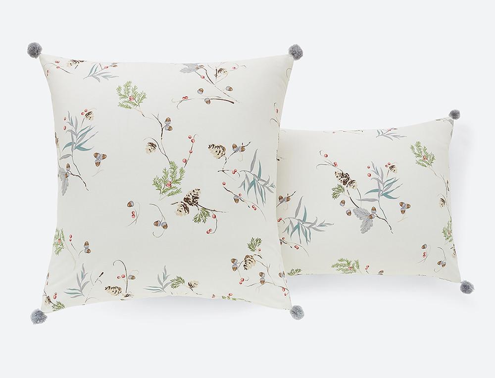 Taie d'oreiller percale imprimée Forêt des Vosges