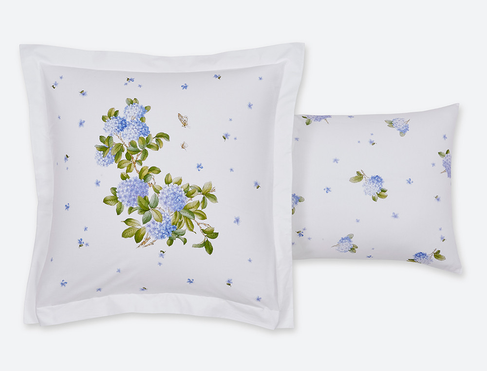 Taie d'oreiller percale imprimé motifs fleuri Ginza