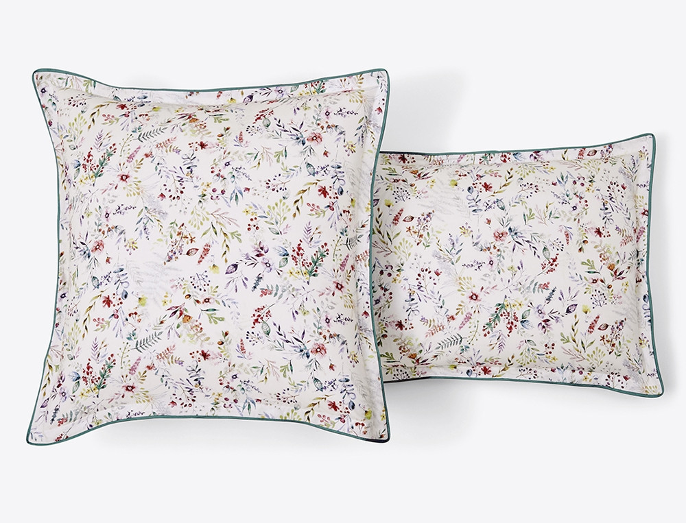Taie d'oreiller percale imprimé fleuri émeraude et multicolore Giverny
