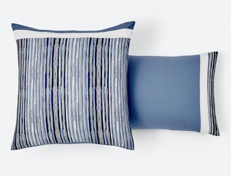 Taie d'oreiller percale rayée Infiniment bleu