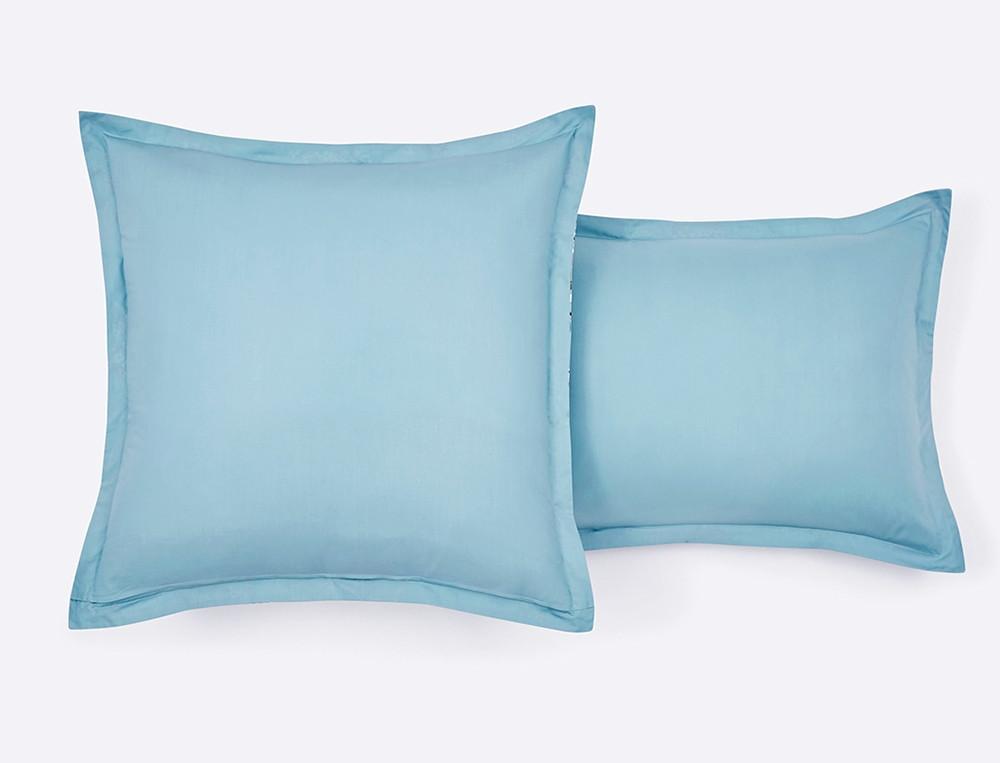 Taie d'oreiller percale imprimé fleuri et dos uni bleu Jardin imaginaire