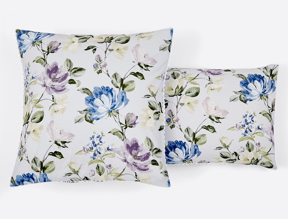 Taie d'oreiller percale réversible imprimé fleuri et rayée finition croquet Le jardin de Marie