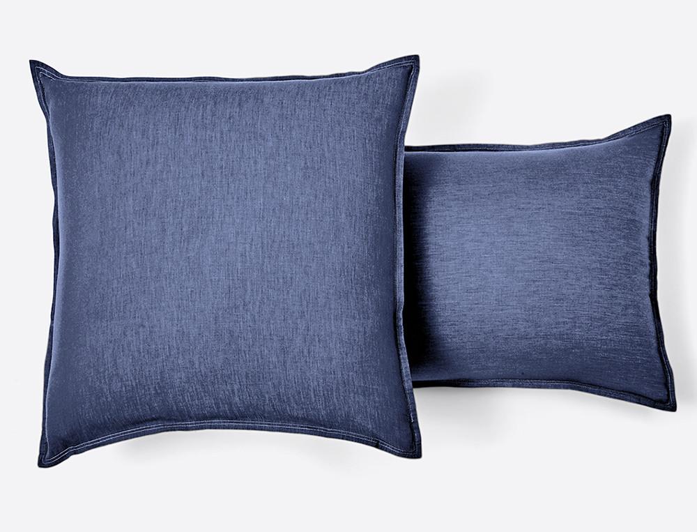 Taie d'oreiller percale tissé-teint Les bleus de Nîmes