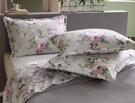 Taie d'oreiller satin imprimé fleuri bords festonnés Les magnolias
