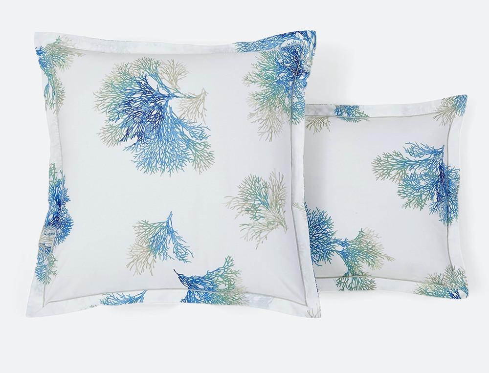 Taie d'oreiller percale blanche imprimé coraux bleus bourdon grege Mer du Sud