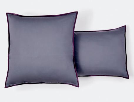 Taie d'oreiller satin réversible imprimé et gris uni finition biais Mica
