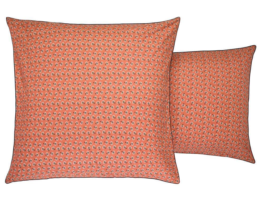 Taie d'oreiller percale imprimée fond orange Triple jeux
