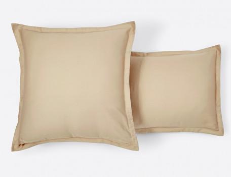 Taie d'oreiller satin réversible rayée et unie beige à volant Pastels