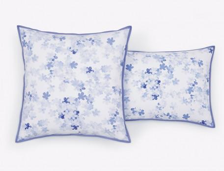 Taie d'oreiller percale réversible imprimé fleur et rayures biais uni Petite fleur bleue