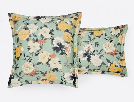 Taie d'oreiller satin réversible imprimés fleuri et géométrique finition bourdon Pivoine Sakura