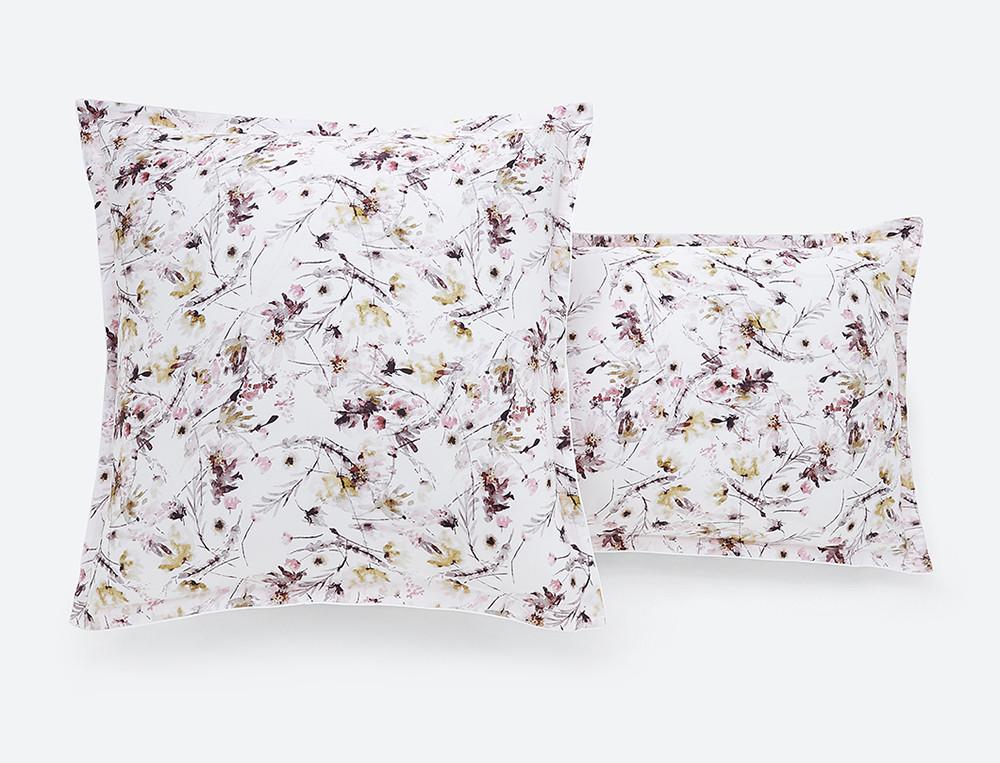 Taie d'oreiller satin imprimée Poésie fleurie