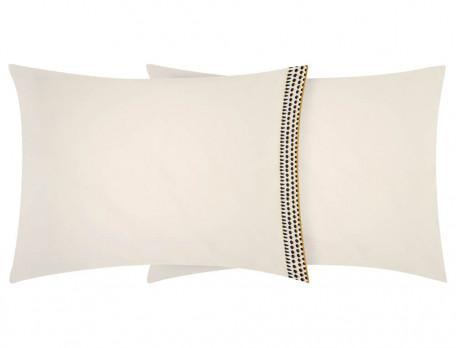Taie d'oreiller rectangulaire percale uni blanc naturel parement imprimé sur un côté Constantin