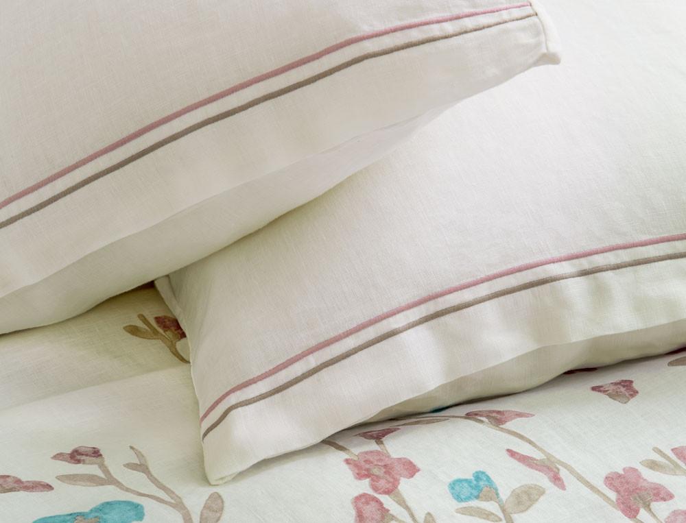 Taie d'oreiller rectangulaire métis lavé lin et coton unie blanche Rose trémière