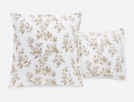Taie d'oreiller lin lavé 100% coton imprimée Roses de lin