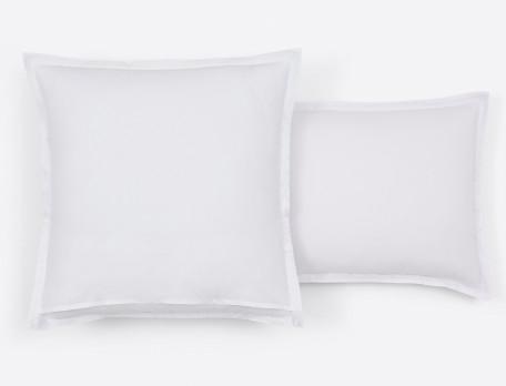 Taie d'oreiller percale réversible imprimé fleuri et dos blanc uni Souffle d'encre