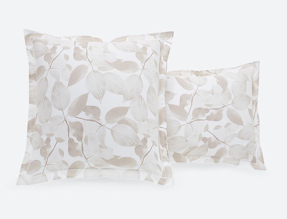 Taie d'oreiller 100% coton imprimée fleurie dos uni blanc Sous le charme