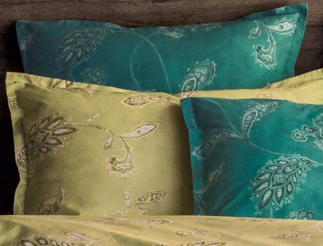 Taie d'oreiller percale imprimée fleurie réversible Tourmaline