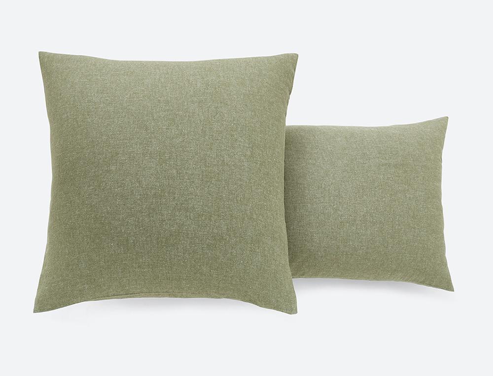 Taie d'oreiller unie olive tissé-teint effet chiné Matin d'hiver